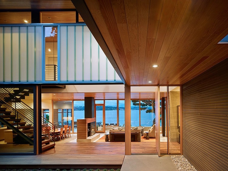 Wood plays a major role in shaping the inviting lake house