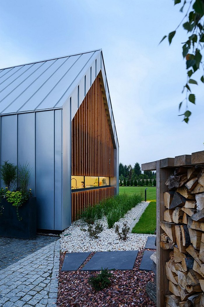 Wooden slats give the home a sense of privacy