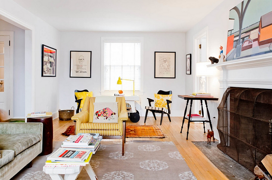 Yellow striped chair steals the show in the living room