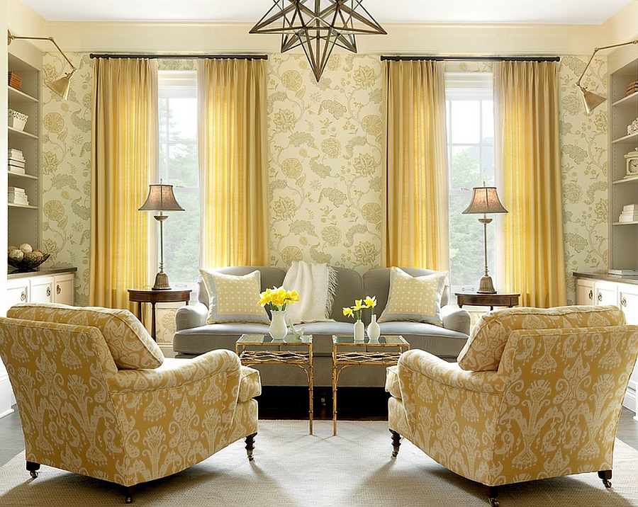 Yellow used in a tone-on tone style in the beach style living room