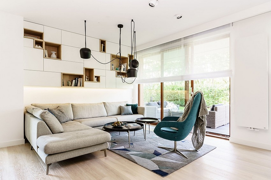 Beautiful area rug defines the small living area