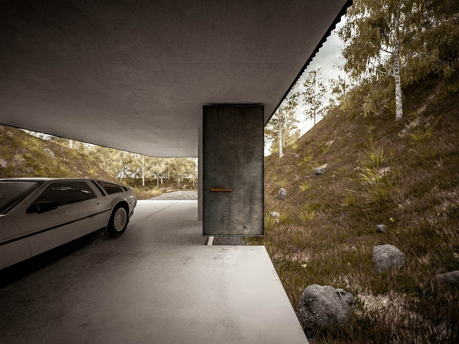 Cantilivered structure of the home offers both a driveway and parking space