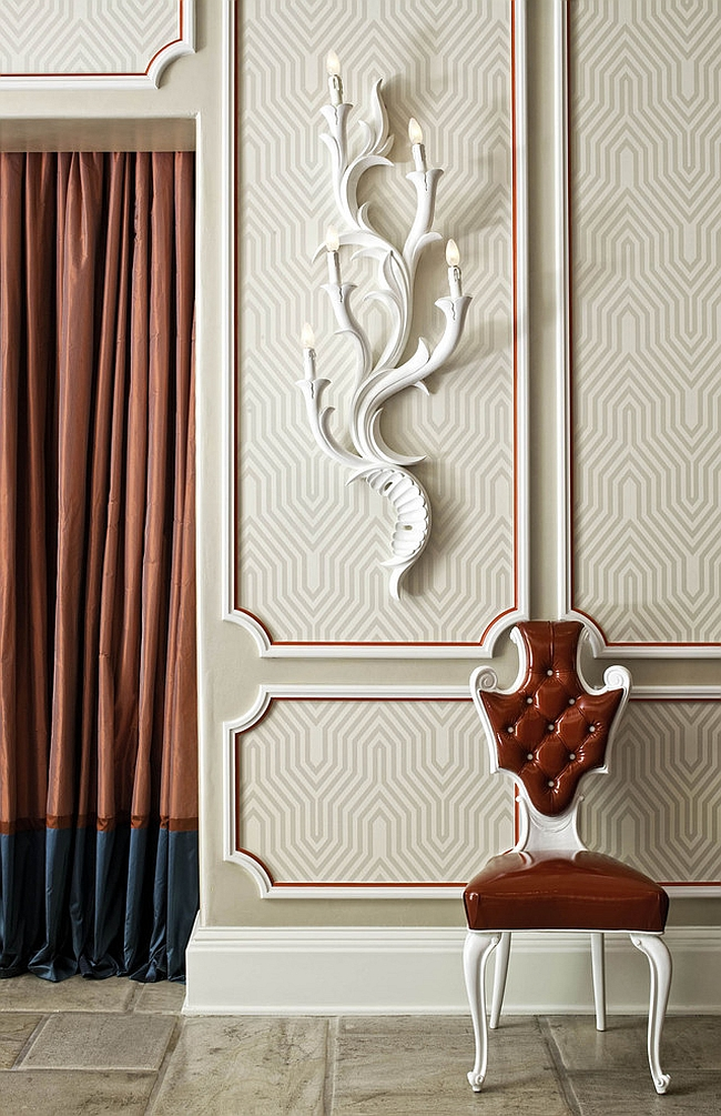 Contemporary entry with wallpaper inspired by David Hicks patterns