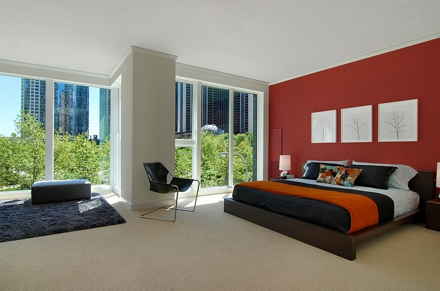 Contemporary red bedroom with a touch of midcentury charm [Design: Florense USA]