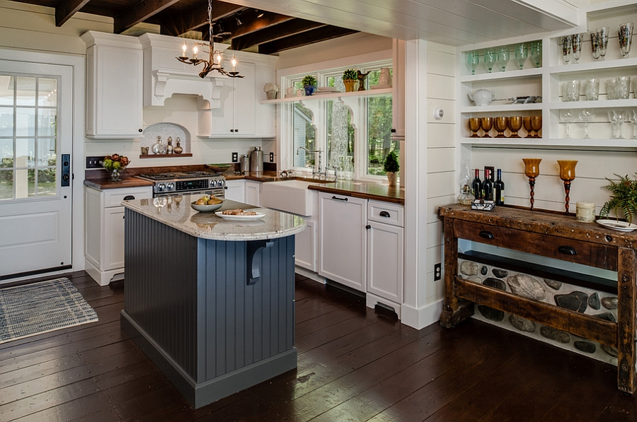 Cottage style kitchen with trendy use of gray [Design: Dawn at the Lake Street Design Studio]