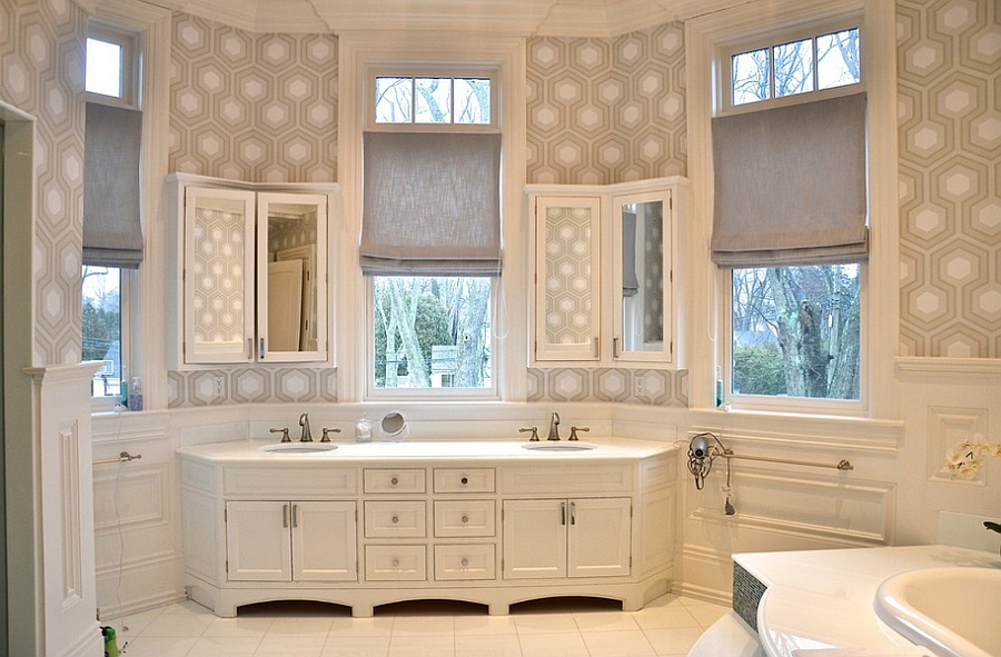 David Hicks wallpaper for the spa styled bathroom