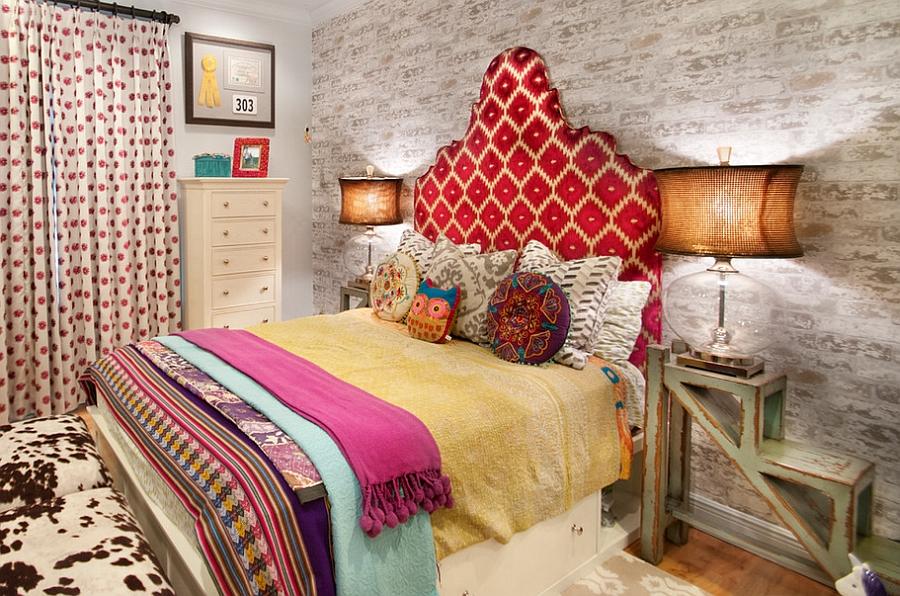 Eclectic bedroom with creative nightstands