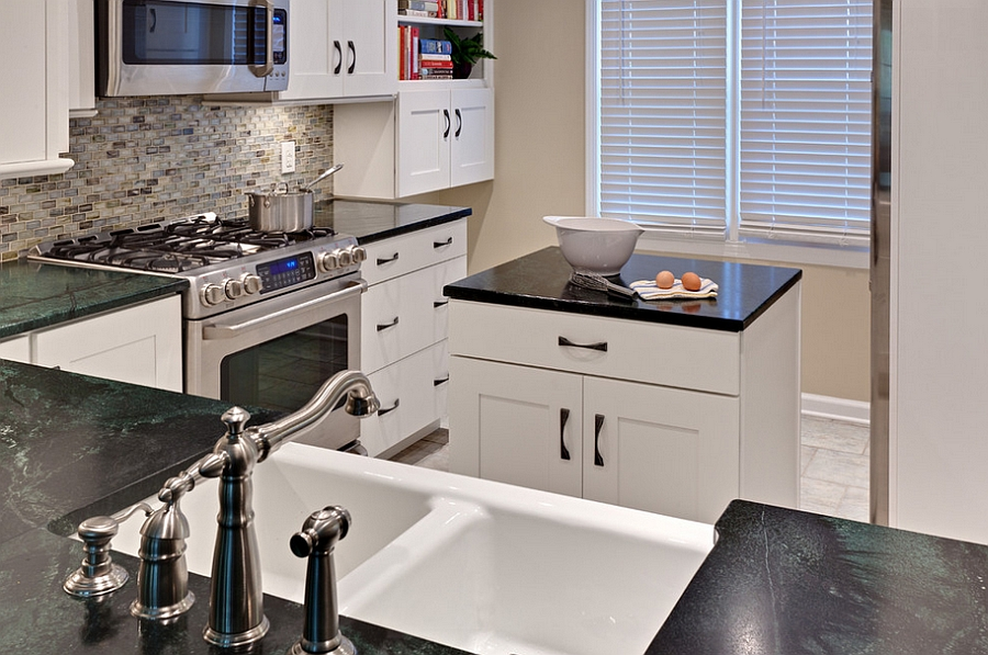 Elegant small kitchen with a smart island at its heart [Design: Turan Designs]