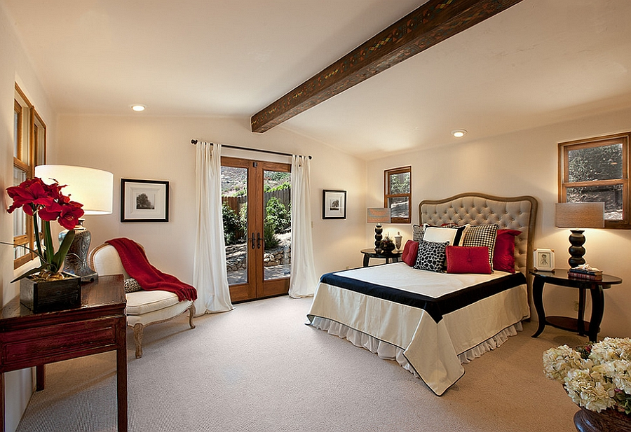 Elegant touch of red along with black in the bedroom [Design: J. Grant Design Studio]