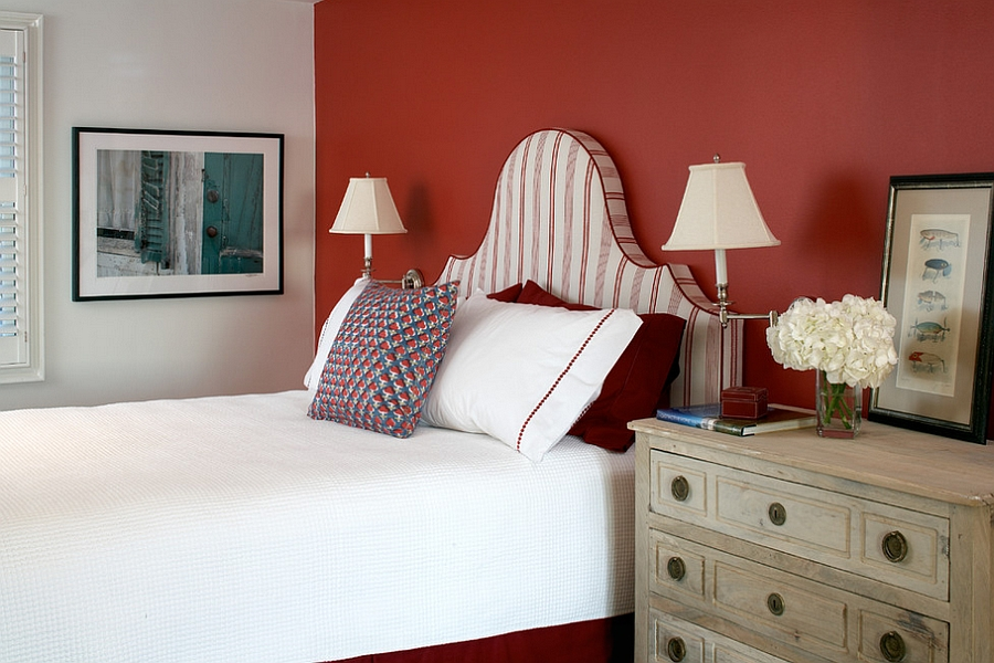 Elegant use of red in the bedroom [Design: Terrat Elms Interior Design]