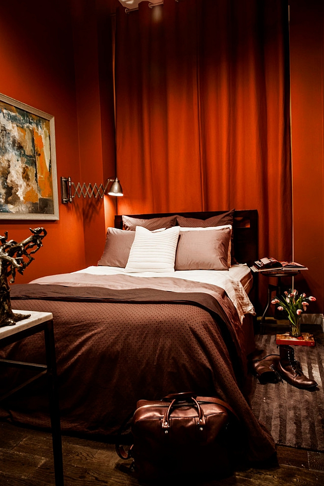 Fabulous use of texture in the red bedroom [Design: Beckenstein Fabric and Interiors]