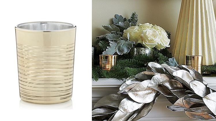 Gold-ringed candle holder from Crate & Barrel