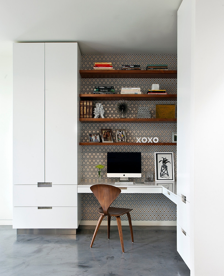 Gorgeous use of wallpaper for the home office niche