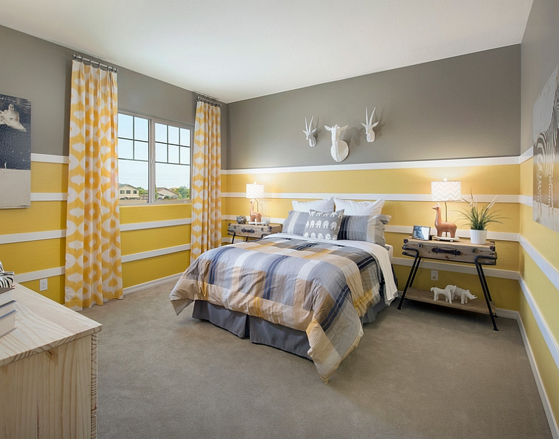 Gorgeous use of yellow and grey in the bedroom
