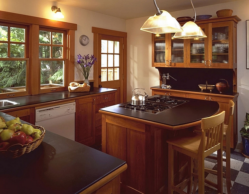 Make sure you have enough room to work around the tiny kitchen island [Design: Goforth Gill Architects]