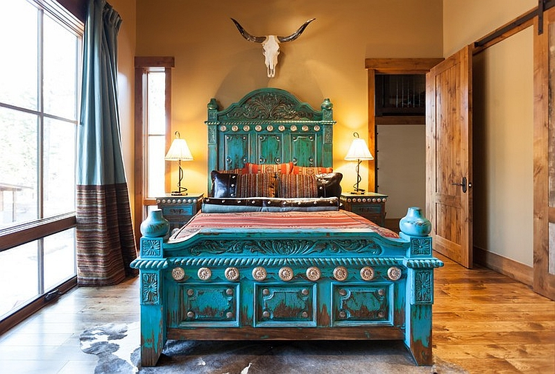 Modern rustic style in the bedroom with a turquoise bed