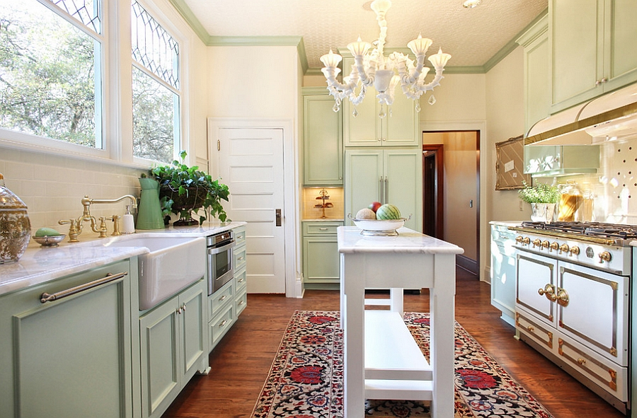Narrow island offers additional countertop space in the small kitchen [Design: Garrison Hullinger]