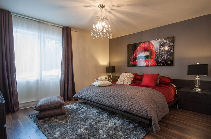 Posh bedroom in gray and red [Design: Le Blanc Home Staging & Relooking]