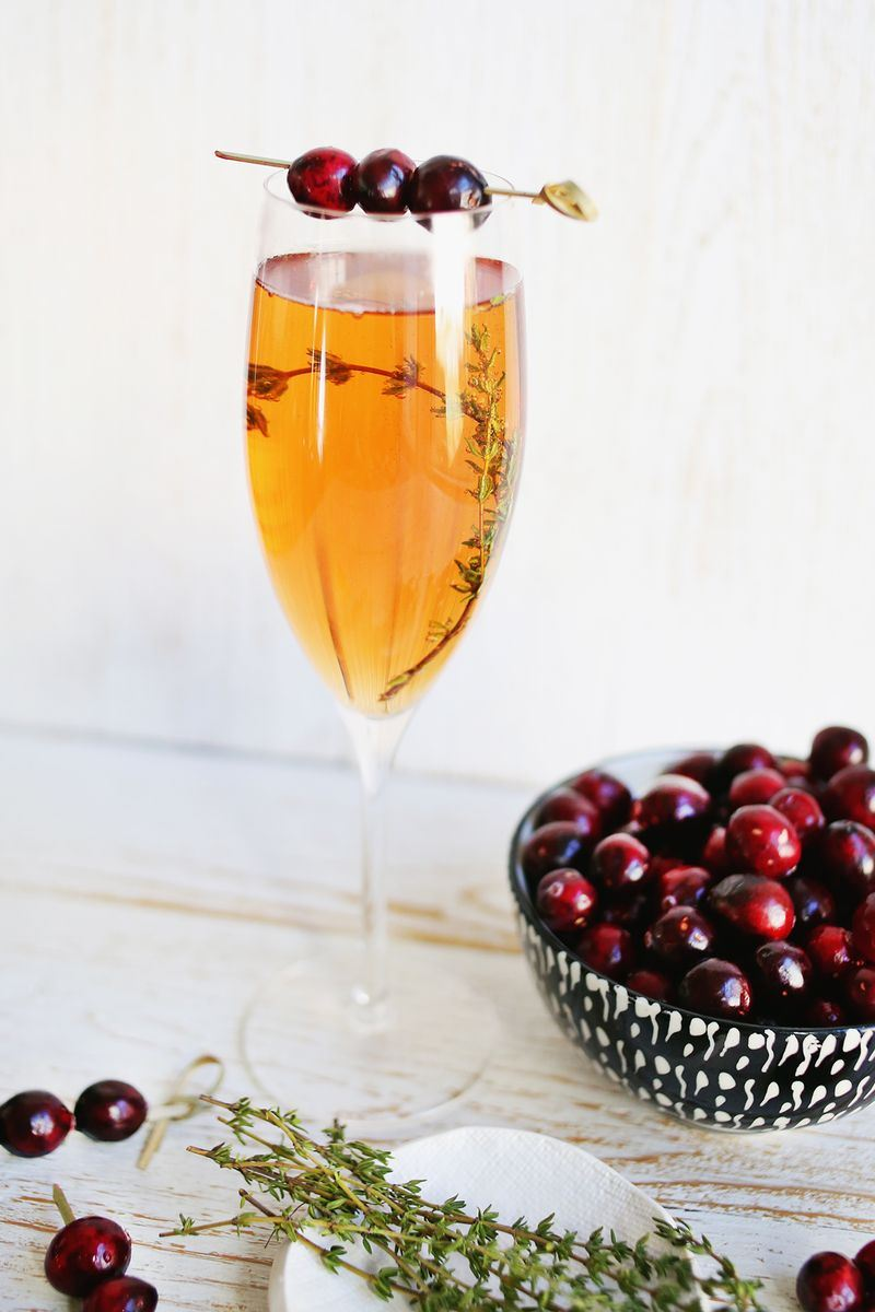 Prosecco and cranberry mimosa from A Beautiful Mess