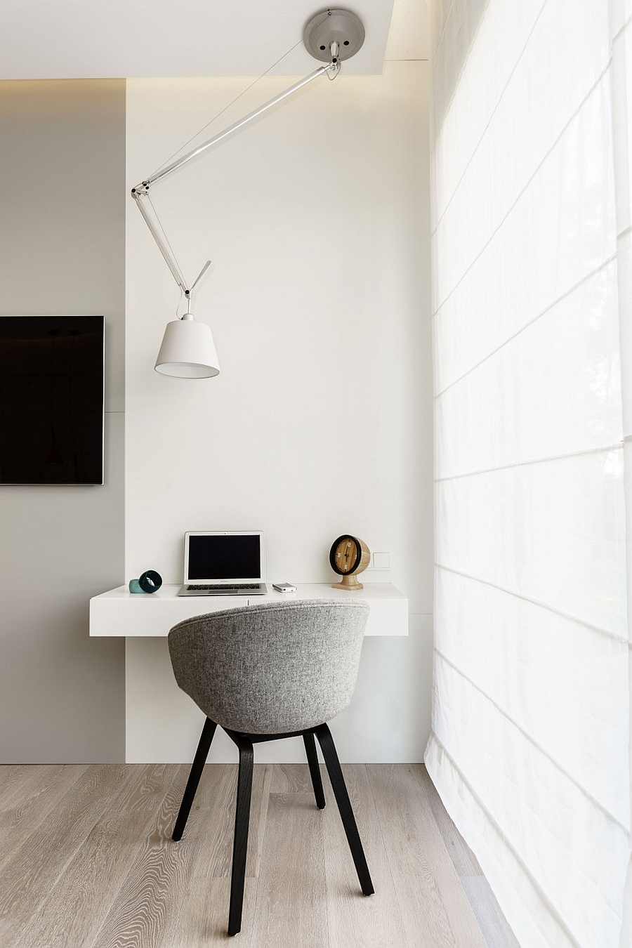 Small and elegant work area in the bedroom corner