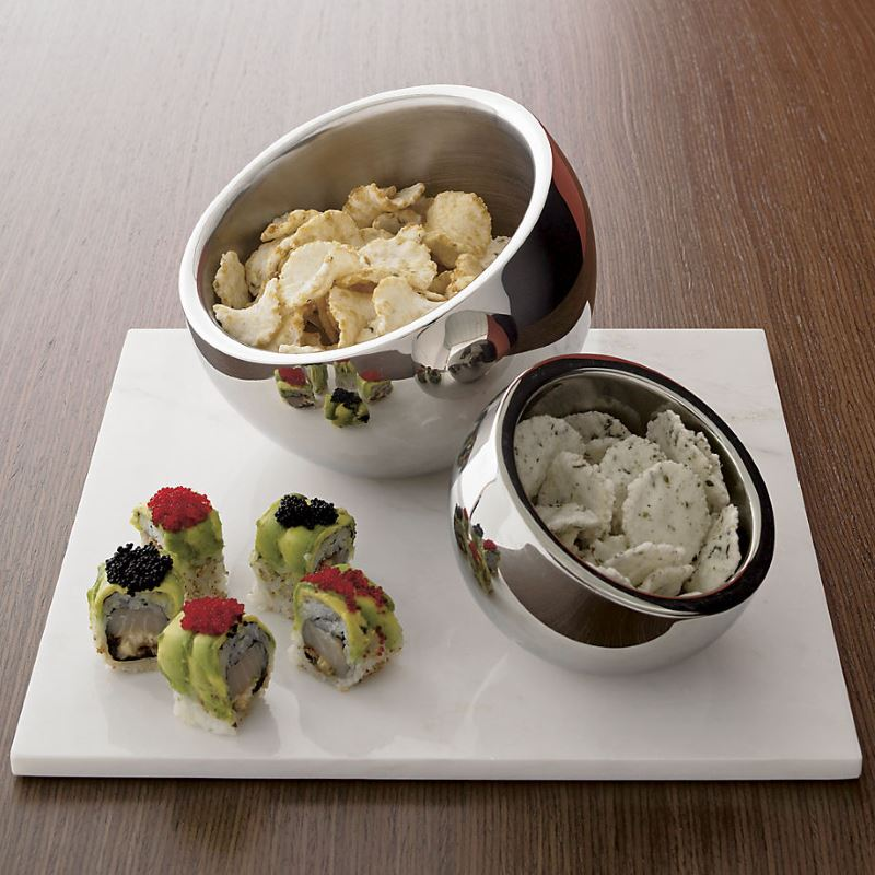 Stainless steel snack bowls from CB2