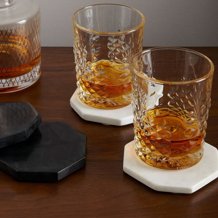 Stone hexagon coasters from West Elm