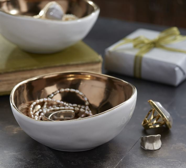 Stoneware and gold bowls from Pottery Barn