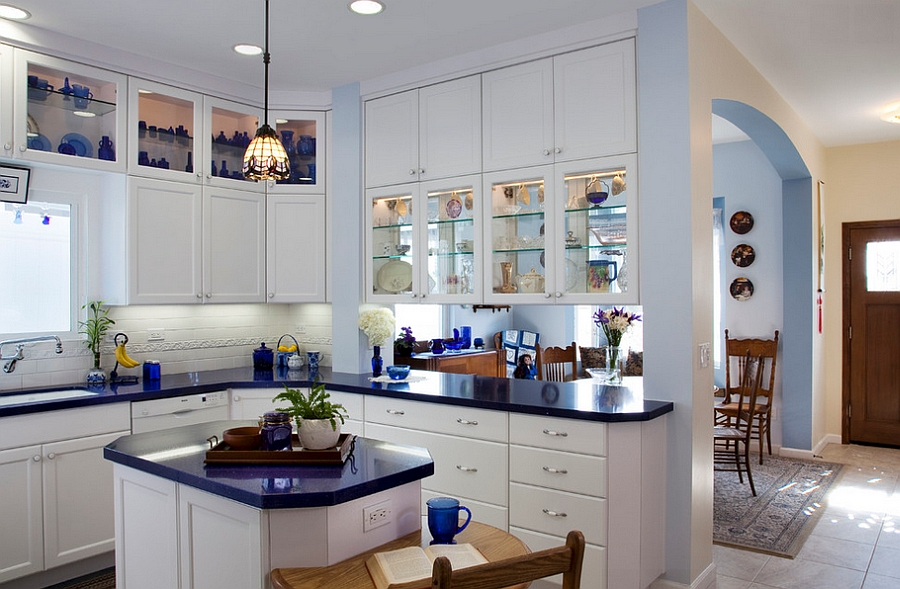 Tiny kitchen island is also the prefect breakfast nook [Design: Marrokal Design & Remodeling]