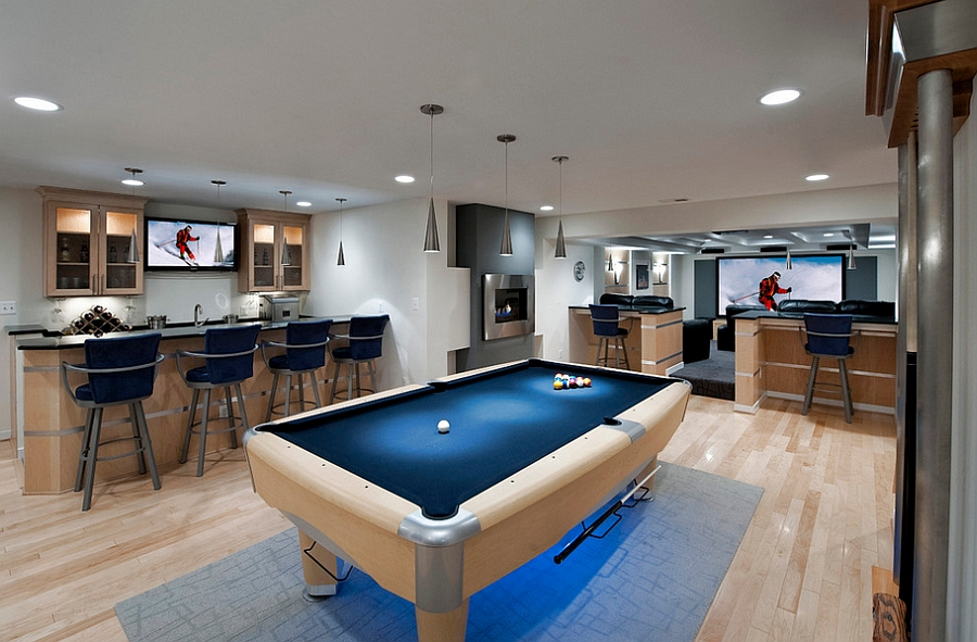 Turn the basement into a cool hangout for weekend parties
