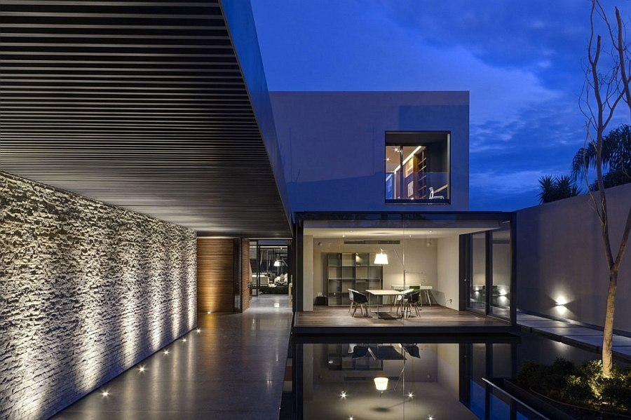 Beautifully light pathway leading to the living area of the LA House