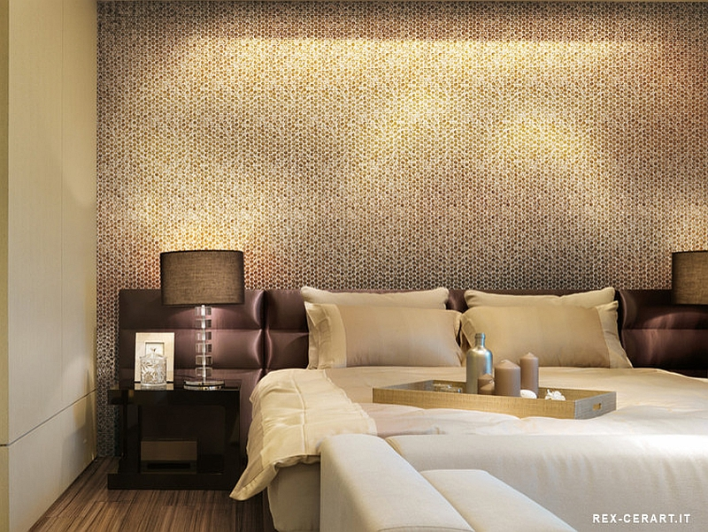 Bedroom accent wall with snazzy penny tiles [From: Ceramiche]