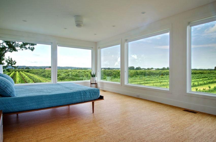 Bedroom with cork flooring