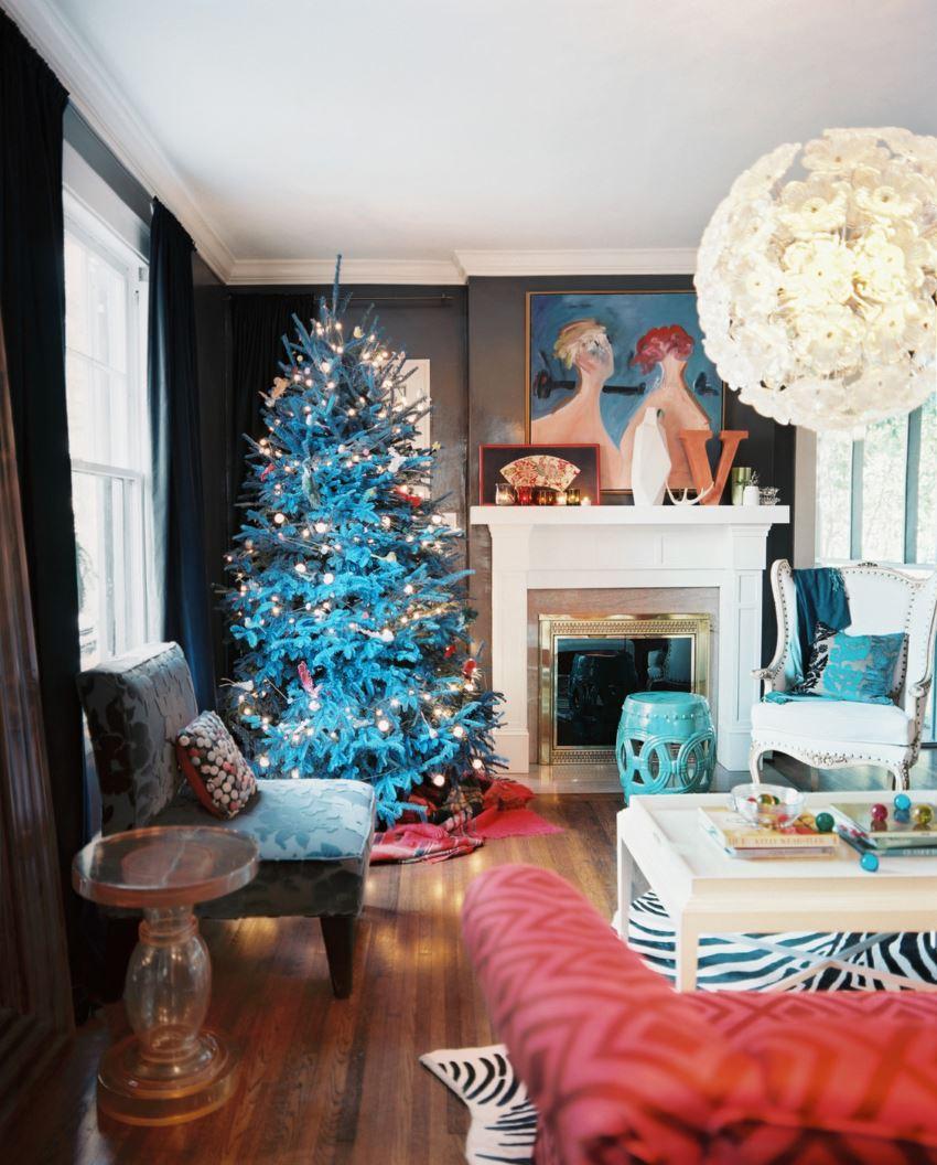 Blue-tinted Christmas tree