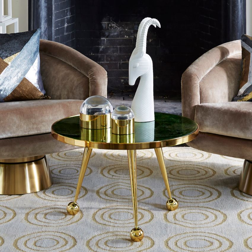 Brass-plated side table from Jonathan Adler