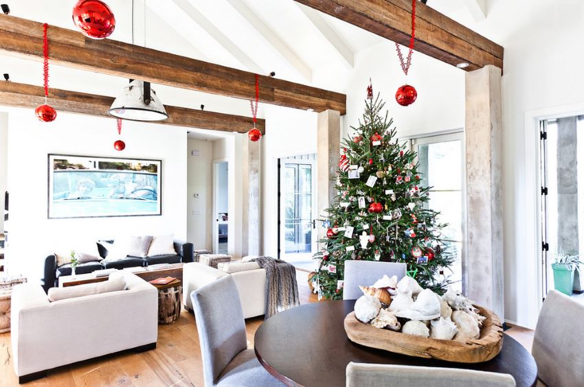 Bright family room with an evergreen tree
