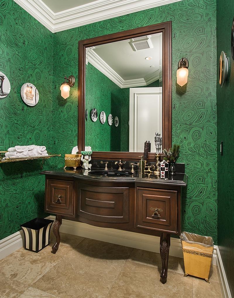 Brilliant wallpaper shapes the Mediterranean powder room [Design: ForTech Solutions]