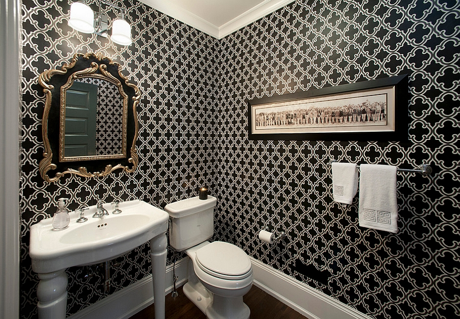 Classic black and white color palette for the powder room [Design: Kallista Plumbing]