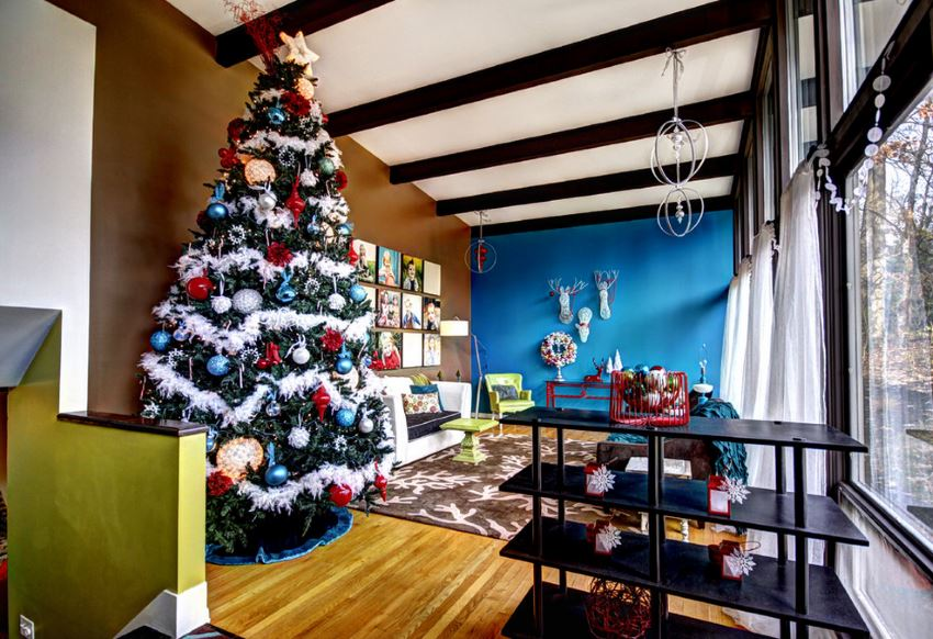 Colorful Christmas tree in a modern living room