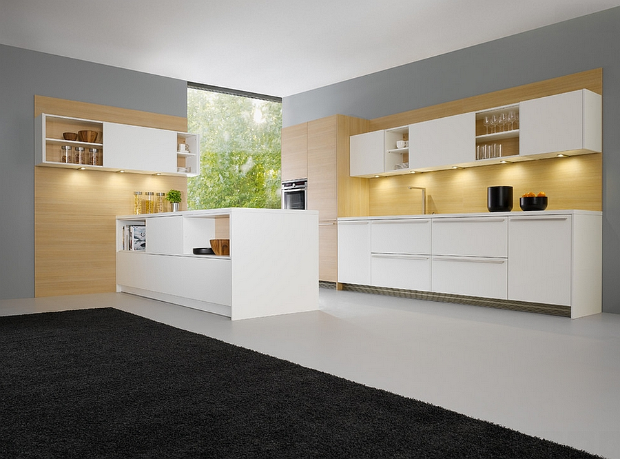 Elegant kitchen combines wood with glossy modern surfaces