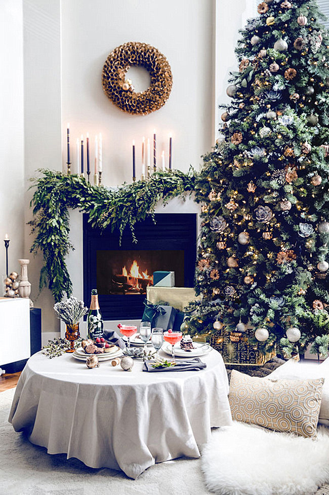 Elegant living room and Christmas tree
