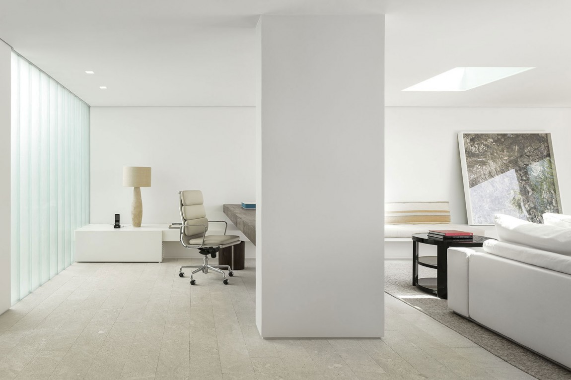 Ergonomic home office connected with the living room
