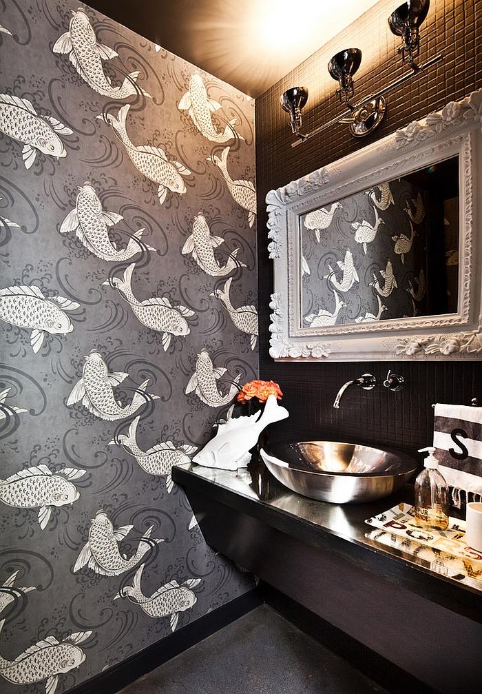 Fun wallpaper brings koi fish into the powder room [Design: Laura U]