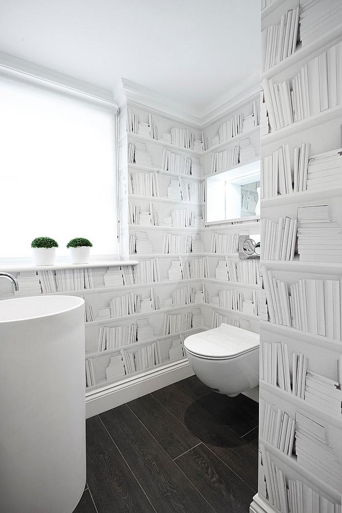 Witty wallpaper choice for the powder room [Design: Boscolo Interior Design]