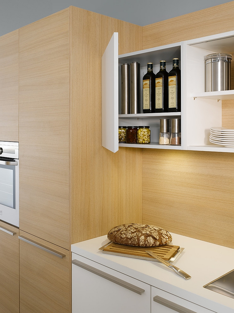 Gorgeous shelves make most out of the vertical space on offer in the kitchen