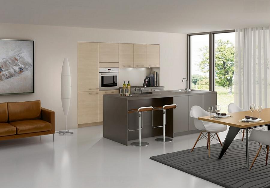 Gray kitchen island with LEM Piston stools