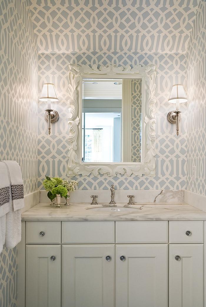 Imperial Trellis Wallpaper in the powder room [Design: Graciela Rutkowski Interiors]