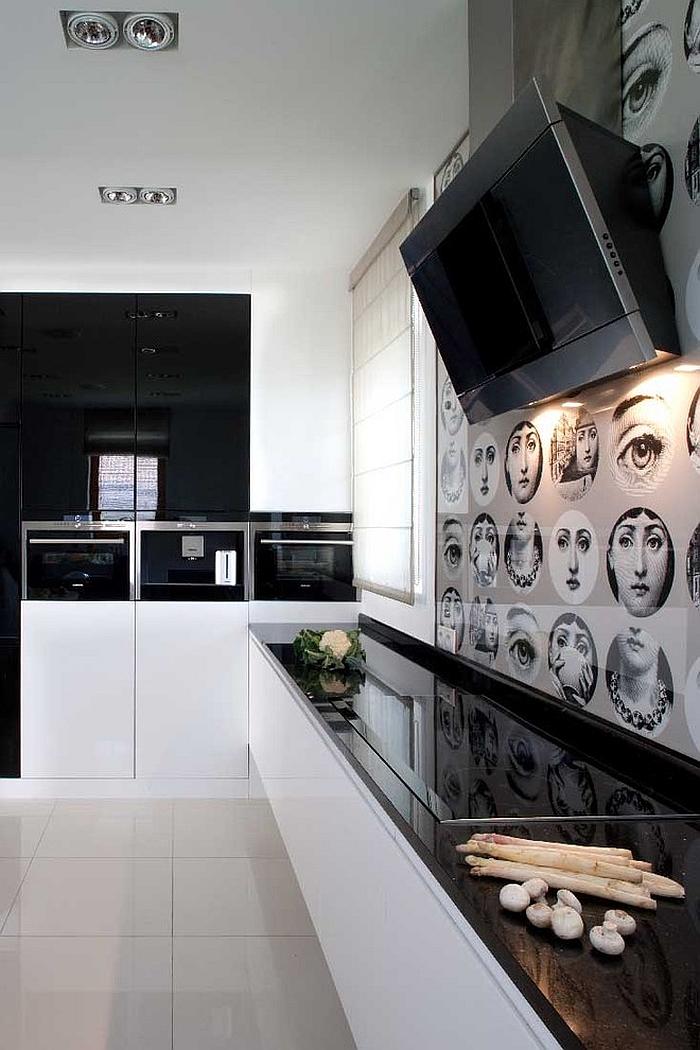 Minimalist home uses the iconic pattern for the kitchen backsplash [Design: Nasciturus Design]