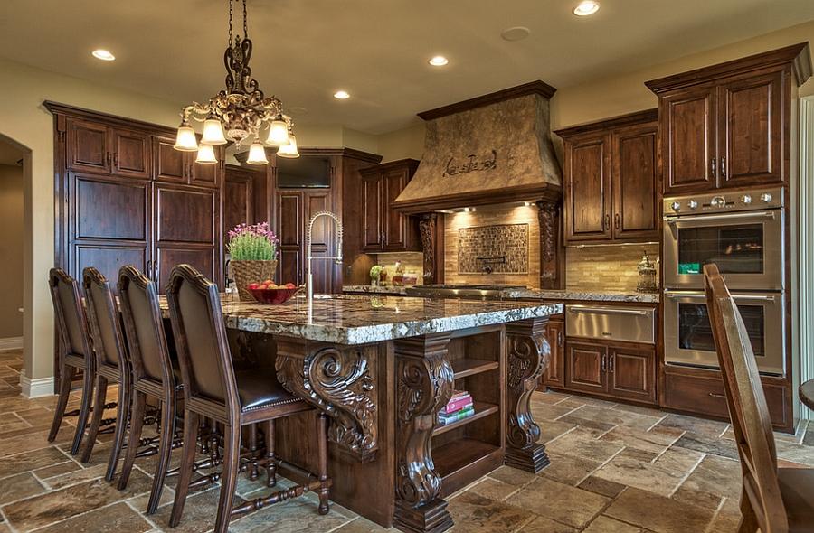 Ornate kitchen design Tuscan island