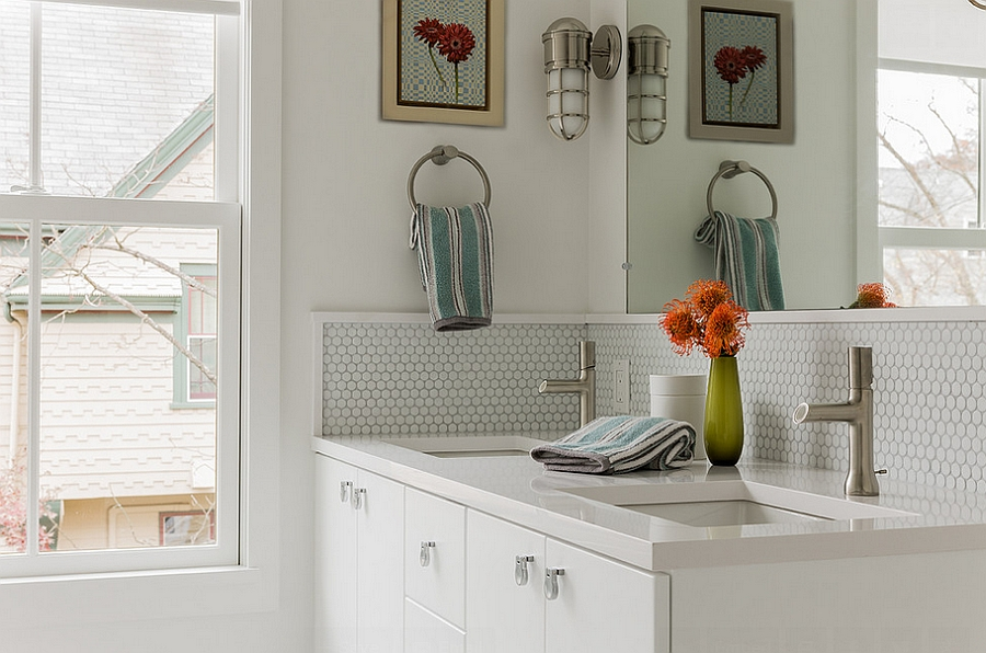 Painted wood trim highlights the penny tile section of the bathroom [Design: Terrat Elms Interior Design]