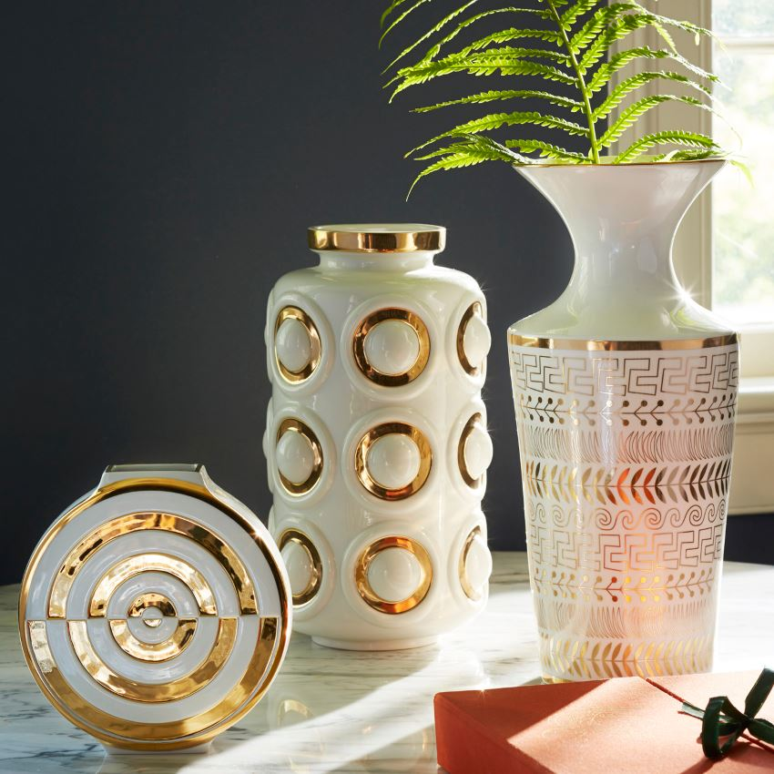 Porcelain and gold vases from Jonathan Adler